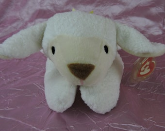 "RETIRED Ty Pillow Pals Lamb ""Baba"" with Ty Tag, Style 3008, Washable, Embroidered Eyes Safe for Babies!"