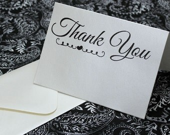 Custom 25pc Wedding Thank You Cards - Embellished - Cream Shimmer Paper