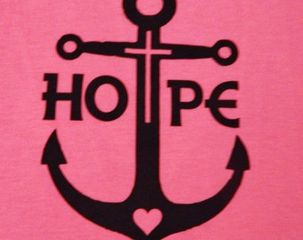 Hope Anchor Tank Top, Original Art Work Screen Printed, Bella Flowy Tank