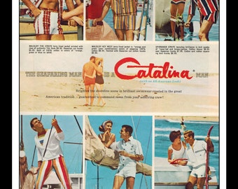 "Vintage Print Ad May 1962 : Catalina Man Swimwear Sailing Fashion Sexy Girls Clothing Wall Art Decor 8.5"" x 11"" Advertisement"
