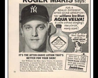 "Vintage Print Ad August 1962 : Aqua Velva After Shave Roger Maris New York Yankees Baseball Wall Art Decor 5.5"" x 5.5"" Advertisement"