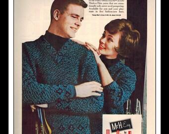 "Vintage Print Ad September 1962 : Mr. H. Esq. by Huntingdon Mills Fashion Clothing Wall Art Decor 8.5"" x 11"" Advertisement"