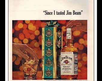"Vintage Print Ad December 1964 : Jim Beam Kentucky Straight Bourbon Whisky Advertisement Color Wall Art Decor 8.5"" x 11"""