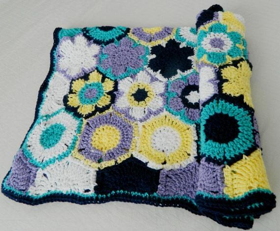 Modern Crochet Flower Pattern : Handmade Crochet Modern Flower Motif Crib by KitchBitchStitch