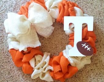 Tennessee Vols Burlap Wreath; SEC wreath; Football Wreath; Sports Wreath; College Wreath; Tennessee Wreath; White and Orange; Football