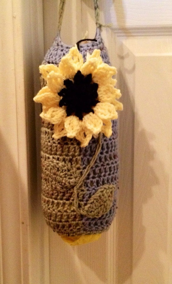 Crochet Pattern Grocery Bag Holder : Crocheted Plastic Bag Holder