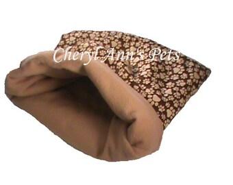 Small Animal brown pawprint snuggle bag, guinea pig, ferret, hedge hog, rat, gerbil, hamster