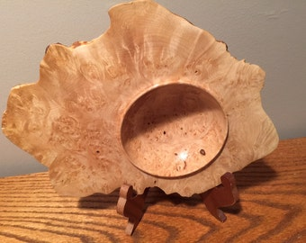 Maple Burl Cap Winged Bowl - Item 1036
