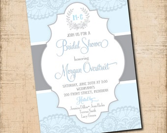 Bridal Shower Invitation with Lace & Laurel Wreath / digital file / powder blue and gray inks / colors and wording can be changed