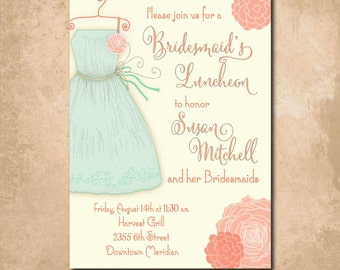 Bridesmaids Luncheon Brunch Invitation printable/Digital File/Bridal Brunch invitation, Brunch with Bride/Wording  & Colors can be changed
