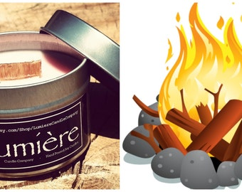 CRACKLING CAMPFIRE  scent! - Firewood Candle, Woodsy Candle, Smoke Candle, Winter Candle,  - Lumière Candle Company - Travel Tin