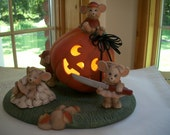 ceramic lighted mice carving pumpkin set