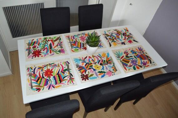 Oferta tapetitos bordados mexicanos set de mantelitos aqua - Manteles de mesa bordados ...