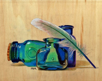 Blue Flasks, original colored pencil drawing on plywood