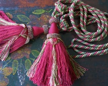 Antique French Burgundy Hand Made Passementerie Tassel/Amazing Curtain Tassel/Beautiful tassel tie back with silk ropes/Vintage Home Decor,