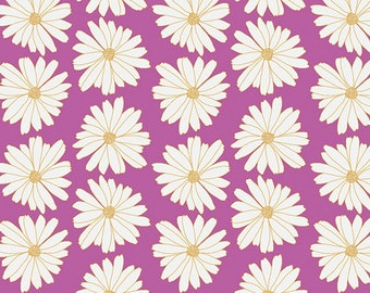 Vintage Daisies on Purple Fabric - Anna Elise by Bari J. for Art Gallery - Daisies Lilac Scent - Fabric By the Half Yard