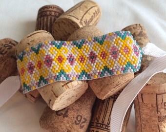Beaded Bracelet. Seed bead bracelet. Peyote bracelet. Ribbon bracelet. Summer jewelry. Beaded cuff.