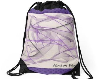 Purple Bliss Drawstring Bag by artist Marian Palucci