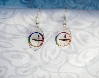 "UU (Unitarian Universalist) chalice earrings, 100% recycled ""shrinky dink"""