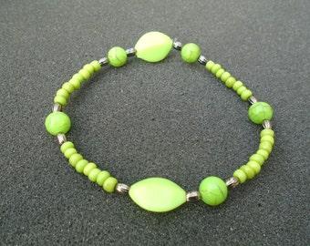Neon green beaded stretch bracelet