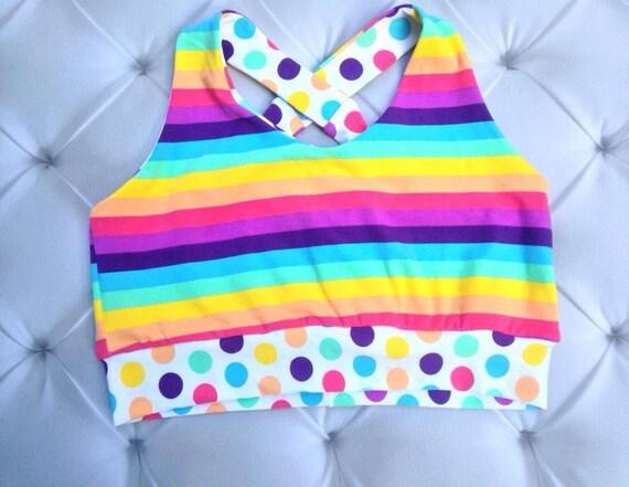 Comfy Bra, Rainbow Bra, Custom Brazi, Custom Sized Sports Bra, Sleeping Bra, Sports Bra