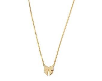 18K gold vermeil bow charm necklace