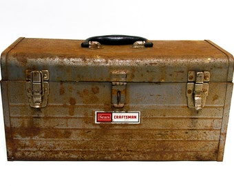 Vintage Toolbox, HEAVILY DISTRESSED Tool Box, Rusty Metal Craftsman Tool Chest, Used and Abused Beat Up Tool Storage