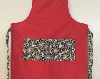 Red and black flower kids apron
