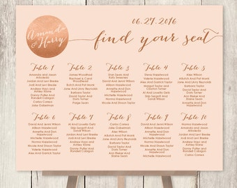 Wedding Seating Chart Sign / Rose Gold Sparkle Wedding Sign / Metallic Gold Faux Gold Foil and Coral ▷ Printable File {or} Printed & Shipped