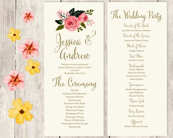 Floral Wedding Program / Watercolor Flower, Gold Calligraphy, Pink Rose on Cream / Wedding Party ▷ Printable File {or} Printed & Shipped