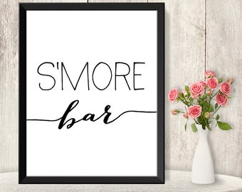 S'more Bar Sign / Wedding S'more Sign DIY / Marshmallows / Trendy Calligraphy Sign / 8x10 Sign / Printable PDF Poster ▷ Instant Download