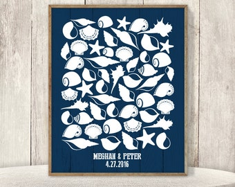 Nautical Guest Book Alternative Poster / Sea Shell on Navy Planks, Starfish, Ocean, Marine Life ▷ Printable File {or} Printed & Shipped
