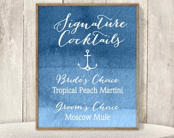 Signature Cocktail Sign / His and Hers Drink / Nautical Ombre Sapphire Blue Watercolor / Custom Sign ▷ Printable File {or} Printed & Shipped