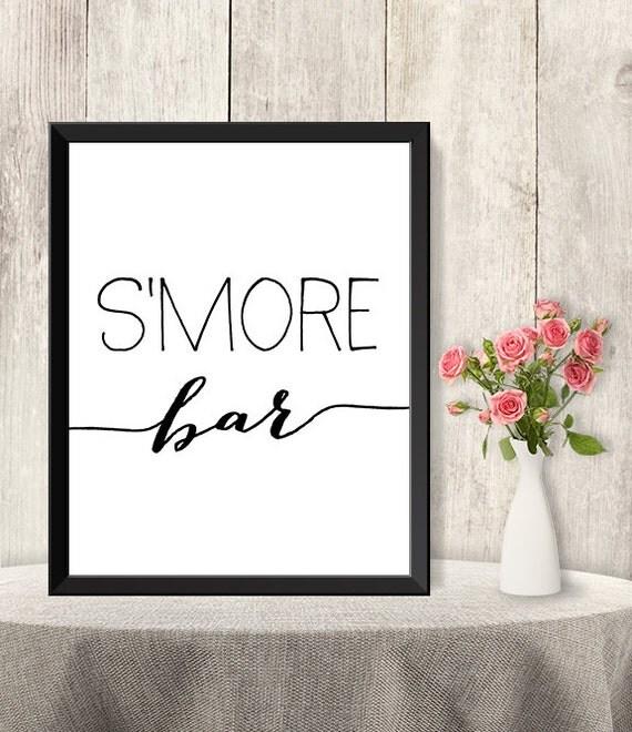 Bar Sign / Wedding S'more Sign DIY / Marshmallows / Trendy Calligraphy ...