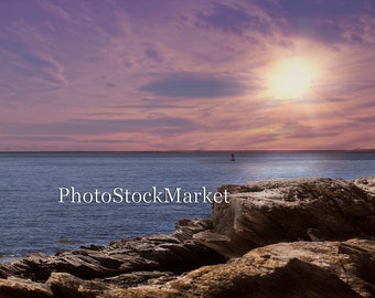 Ocean Sunset - New England Coast Backdrop -  Rocky Seascape Backdrop - Purple Sunset - Photography Backdrop - Photoshop Background