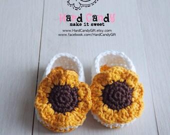 Crochet Sun Flower Booties