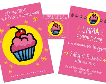 Birthday's Kit   Customizable   Invitation card + thank you card   Burabacio