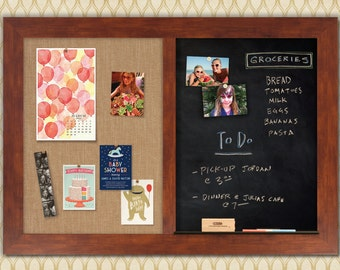 Honey Framed Combo Board --- Magnetic Chalkboard + Fabric Board