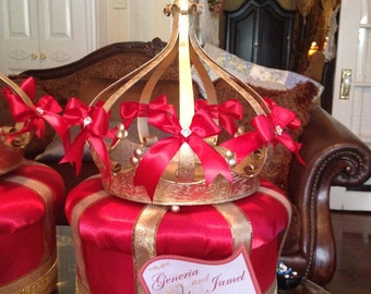Large Pillow Top Box centerpiece with Crown