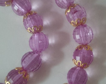 Purple Beaded Necklace and Bracelet Set  (#251)