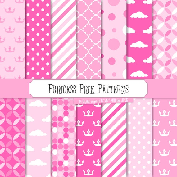 Buy 2 Get 1 Free Digital Paper Princess Pink Patterns