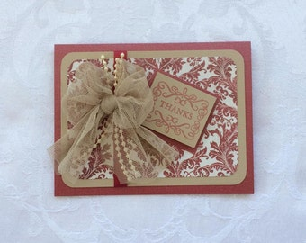 Heartfelt Thank You, Cranberry and Taupe Thank You, Bridal Party Thank You, Formal Thank You