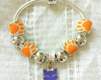 Kids Pet Lover Paws Purple Orange Charms Silver Plated Bracelet 6 Inches