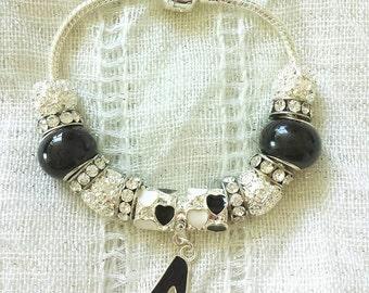 Black Heel Charm Glass Rhinestone Beads Silver Plated Bracelet 7 Inches