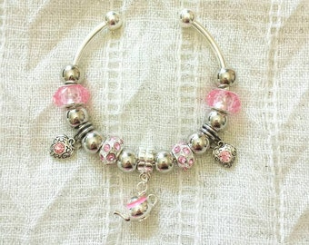 Pink Teapot Charm Rhinestone Beads Silver Plated Bangle Bracelet 7.5 Inches