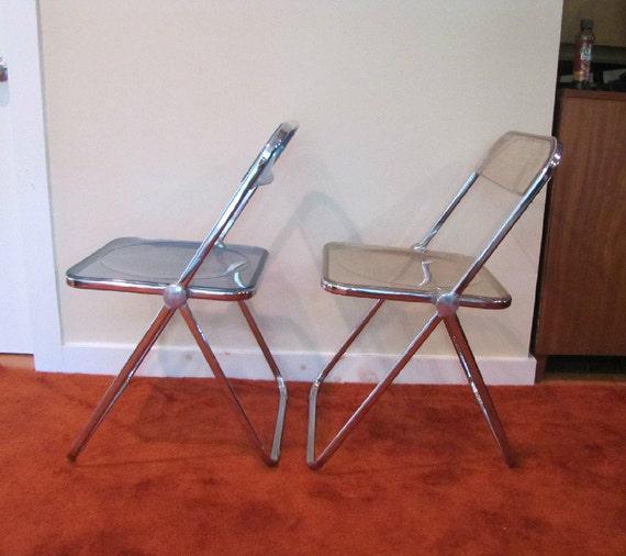 Vintage Lucite Folding Chairs Set of Two Plia Anonima Castelli