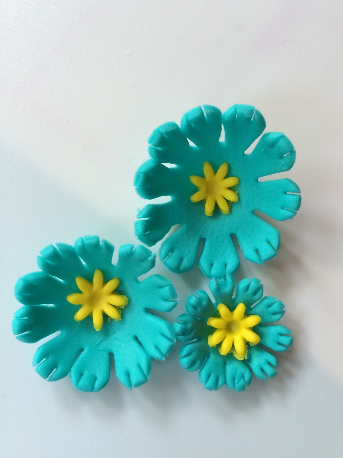 Fondant Flowers 36pcs Turquiose Edible Flowers Cupcake Toppers