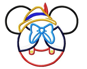 Character Inspired Pinnochio Long Nose Boy Embroidery Applique Design
