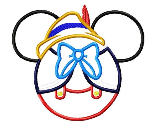 Character Applique Design : Character inspired pinnochio long nose boy embroidery applique