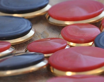 Buttons jewelry gold red or blue metal